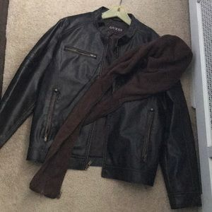 Guess leather jacket with removable hood